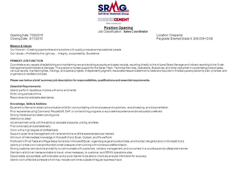 Position Opening Job Classification: Sales Coordinator Opening