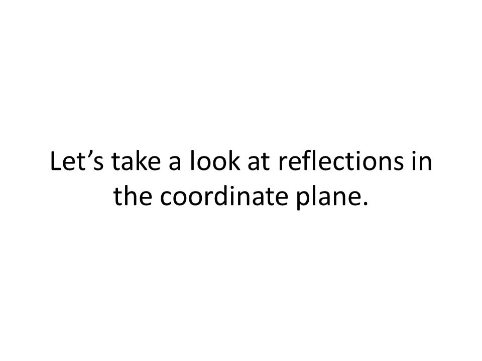 Let's take a look at reflections in the coordinate plane.