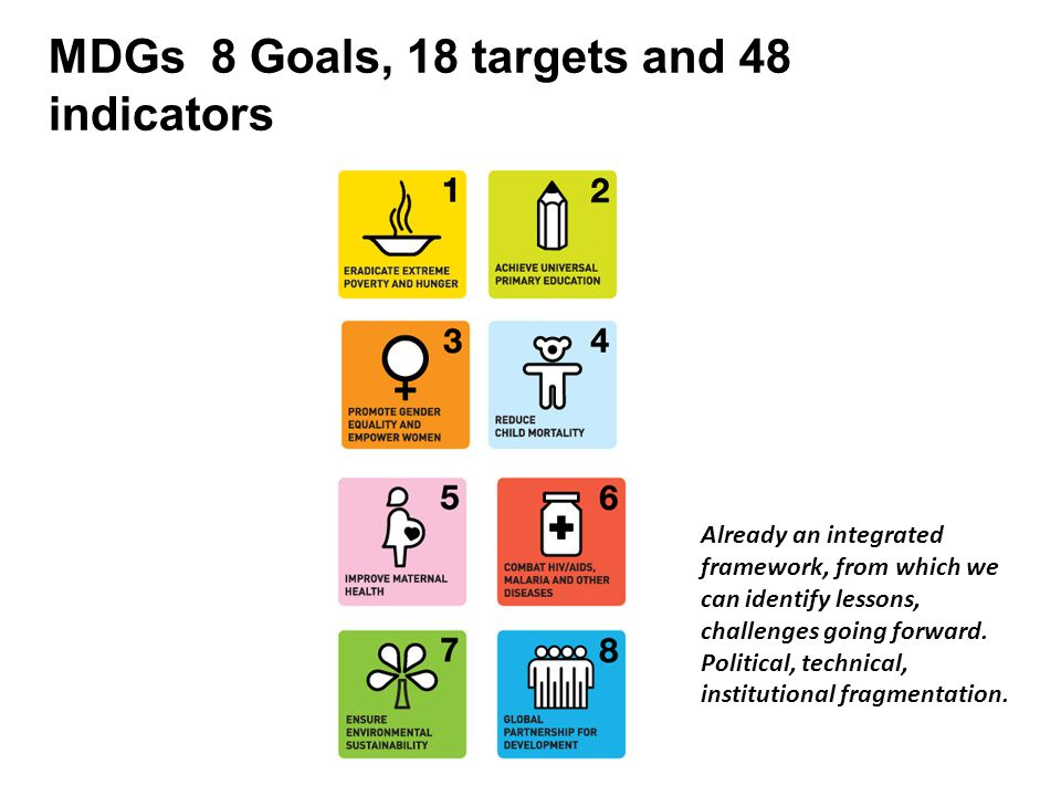 MDGs 8 Goals, 18 targets and 48 indicators Already an integrated framework, from which we can identify lessons, challenges going forward.