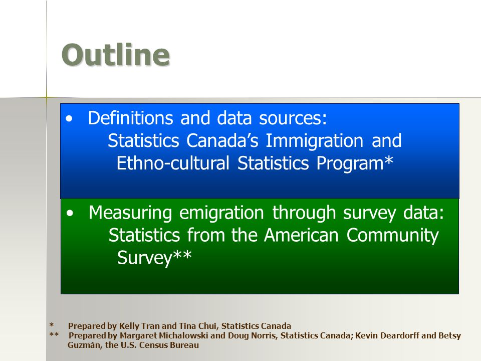 Outline Definitions and data sources: Statistics Canada's Immigration and Ethno-cultural Statistics Program* Measuring emigration through survey data: Statistics from the American Community Survey** * Prepared by Kelly Tran and Tina Chui, Statistics Canada ** Prepared by Margaret Michalowski and Doug Norris, Statistics Canada; Kevin Deardorff and Betsy Guzmán, the U.S.
