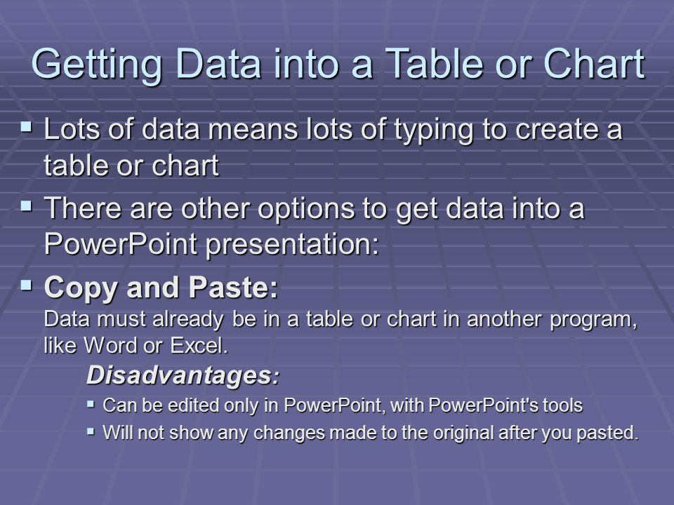  Lots of data means lots of typing to create a table or chart  There are other options to get data into a PowerPoint presentation:  Copy and Paste: Data must already be in a table or chart in another program, like Word or Excel.