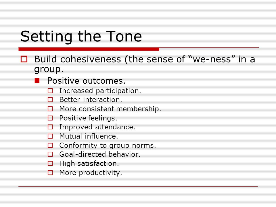 Setting the Tone  Build cohesiveness (the sense of we-ness in a group.