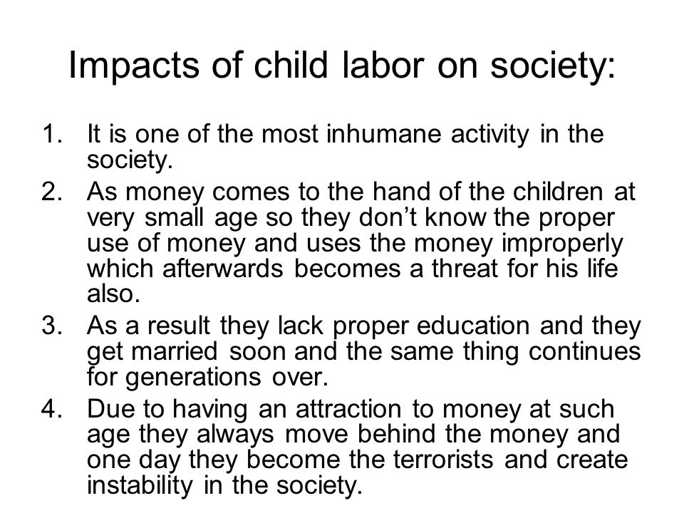 Child labor effects essay samples