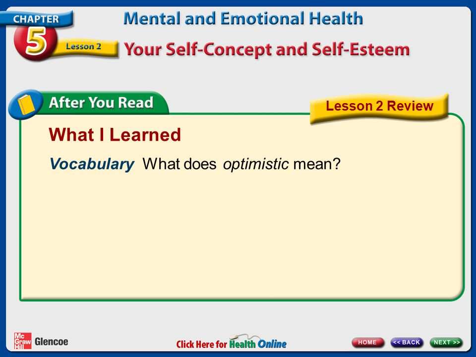 What I Learned Vocabulary What does optimistic mean Lesson 2 Review