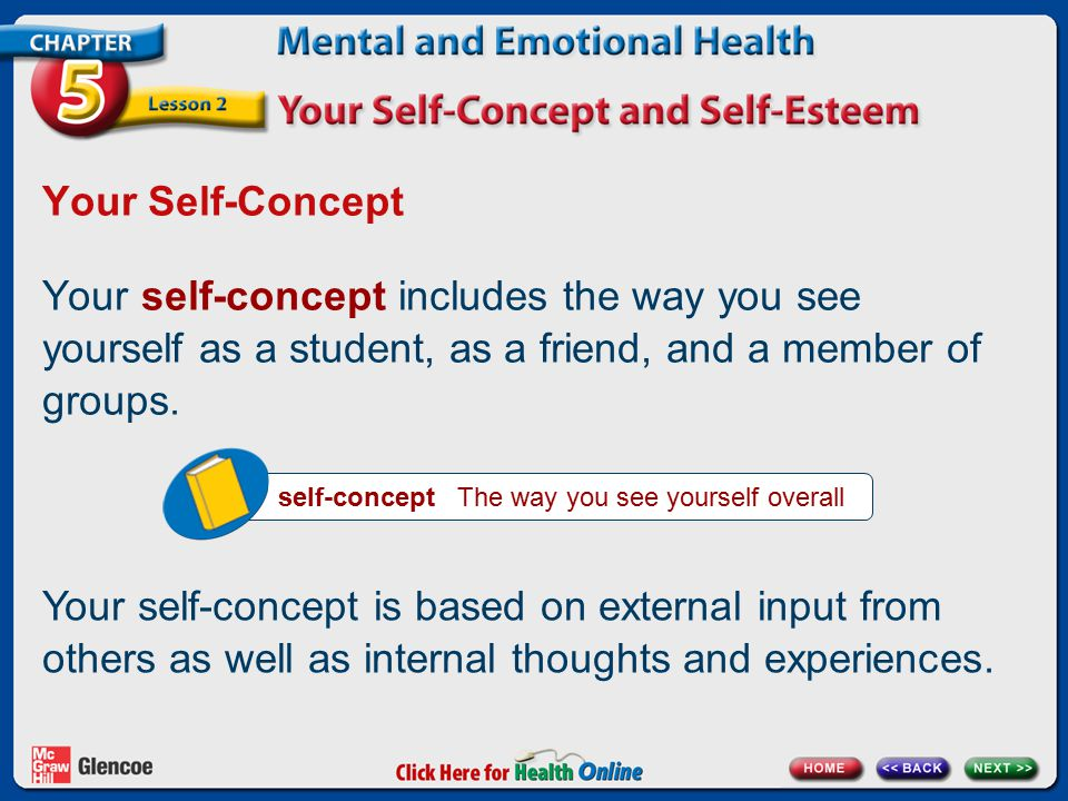 Your Self-Concept Your self-concept includes the way you see yourself as a student, as a friend, and a member of groups.