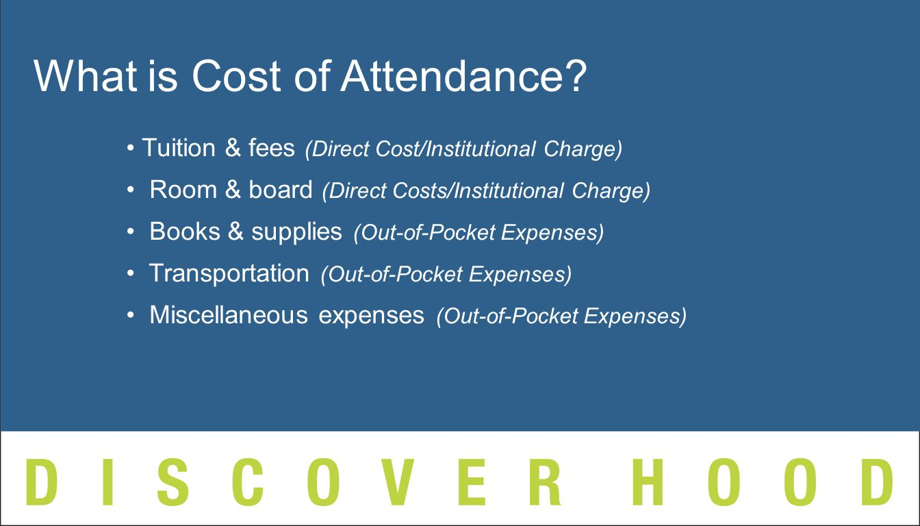 Tuition & fees (Direct Cost/Institutional Charge) Room & board (Direct Costs/Institutional Charge) Books & supplies (Out-of-Pocket Expenses) Transportation (Out-of-Pocket Expenses) Miscellaneous expenses (Out-of-Pocket Expenses) What is Cost of Attendance