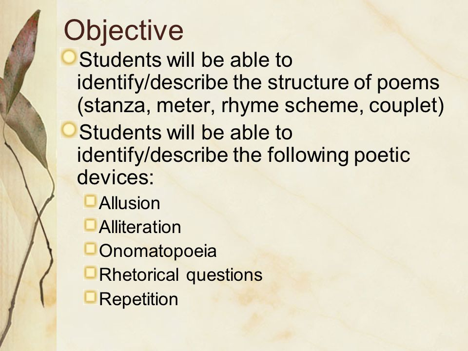 I need help on choosing objectives for my essay on a poem?