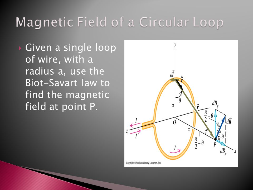  Given a single loop of wire, with a radius a, use the Biot-Savart law to find the magnetic field at point P.