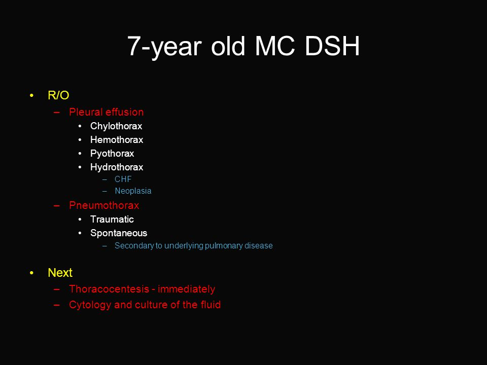 7-year old MC DSH R/O –Pleural effusion Chylothorax Hemothorax Pyothorax Hydrothorax –CHF –Neoplasia –Pneumothorax Traumatic Spontaneous –Secondary to underlying pulmonary disease Next –Thoracocentesis - immediately –Cytology and culture of the fluid