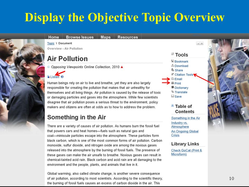 10 Display the Objective Topic Overview