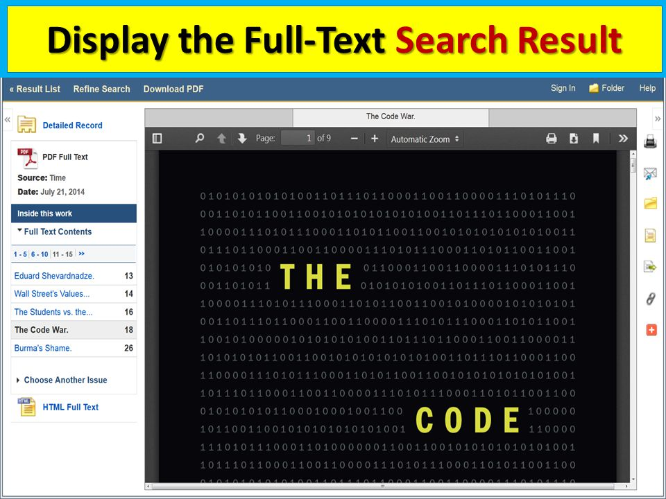 Display the Full-Text Search Result 17