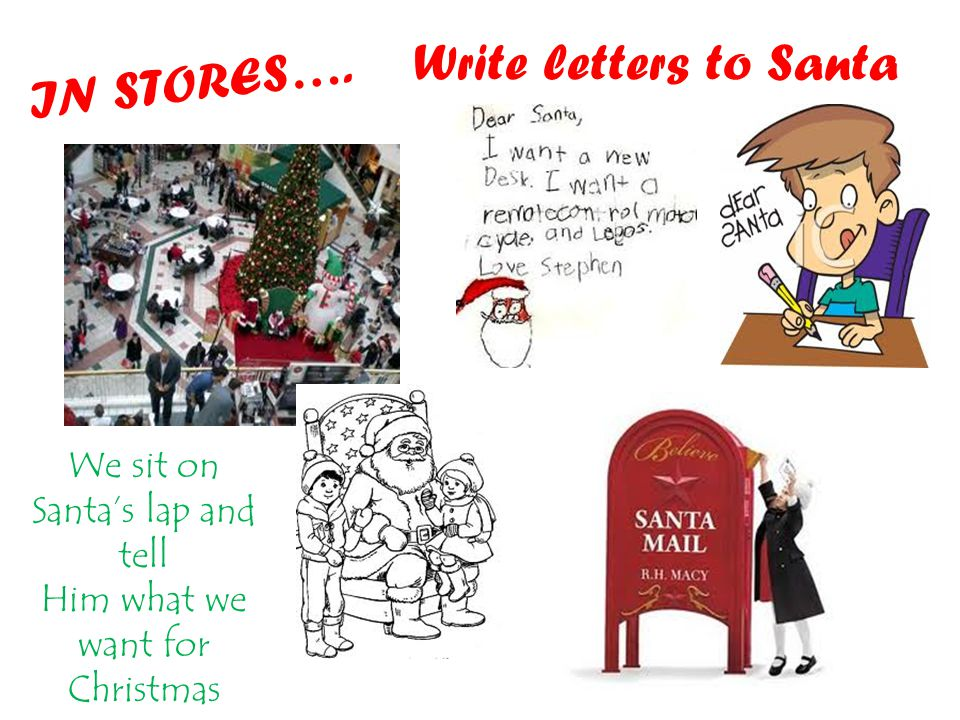 Write letters to Santa We sit on Santa's lap and tell Him what we want for Christmas IN STORES….