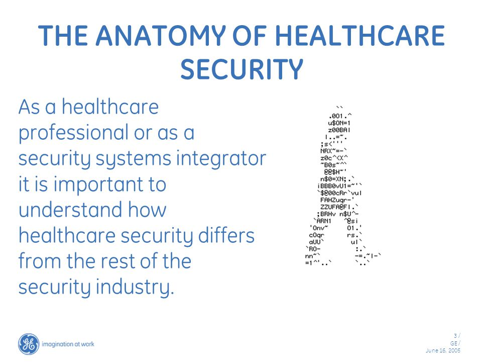 3 / GE / June 16, 2005 THE ANATOMY OF HEALTHCARE SECURITY As a healthcare professional or as a security systems integrator it is important to understand how healthcare security differs from the rest of the security industry.
