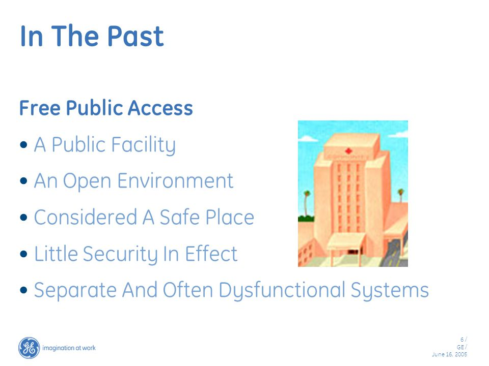 6 / GE / June 16, 2005 In The Past Free Public Access A Public Facility An Open Environment Considered A Safe Place Little Security In Effect Separate And Often Dysfunctional Systems