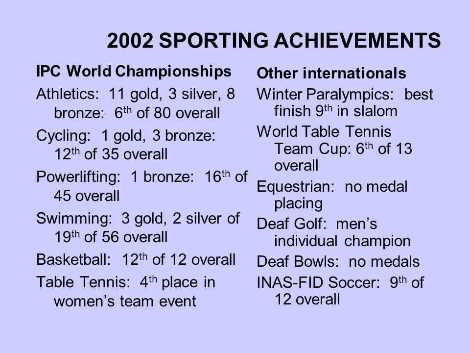 2002 SPORTING ACHIEVEMENTS IPC World Championships Athletics: 11 gold, 3 silver, 8 bronze: 6 th of 80 overall Cycling: 1 gold, 3 bronze: 12 th of 35 overall Powerlifting: 1 bronze: 16 th of 45 overall Swimming: 3 gold, 2 silver of 19 th of 56 overall Basketball: 12 th of 12 overall Table Tennis: 4 th place in women's team event Other internationals Winter Paralympics: best finish 9 th in slalom World Table Tennis Team Cup: 6 th of 13 overall Equestrian: no medal placing Deaf Golf: men's individual champion Deaf Bowls: no medals INAS-FID Soccer: 9 th of 12 overall