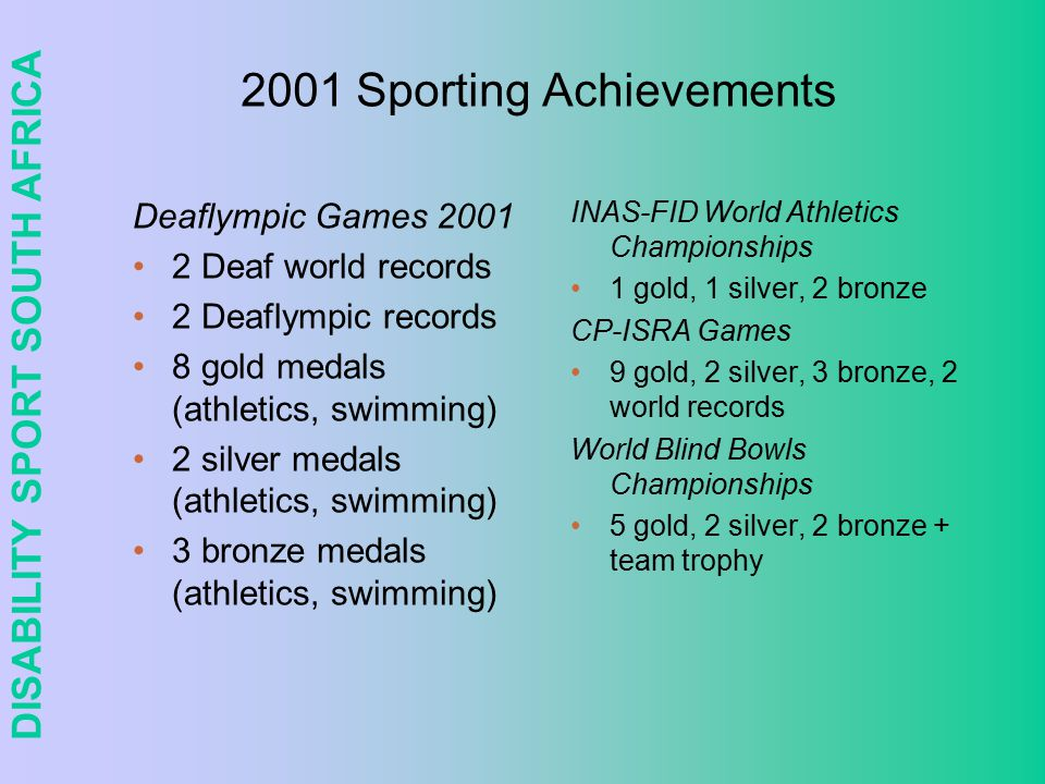 DISABILITY SPORT SOUTH AFRICA Sporting achievements 1996 Atlanta Paralympics 5 world records 2 Paralympic records 10 gold (athletics, bowls, swimming) 8 silver (athletics, bowls, swimming) 10 bronze (athletics, bowls, shooting, swimming) 41 athletes competed in 5 sports 11% black, 28% women 2000 Sydney Paralympics 8 world records 13 gold (athletics & swimming) 12 silver (athletics & swimming) 13 bronze (athletics, cycling, powerlifting, swimming) 64 athletes competed in 9 sports 28% black, 28% women