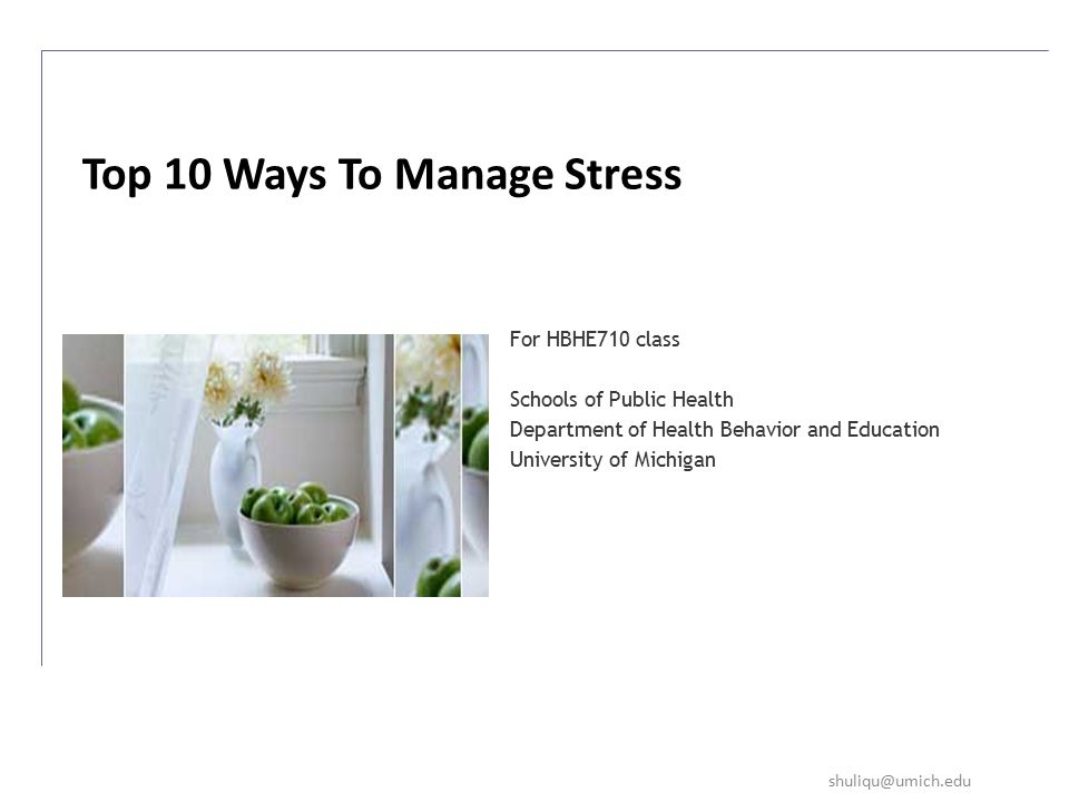 For HBHE710 class Schools of Public Health Department of Health Behavior and Education University of Michigan Top 10 Ways To Manage Stress