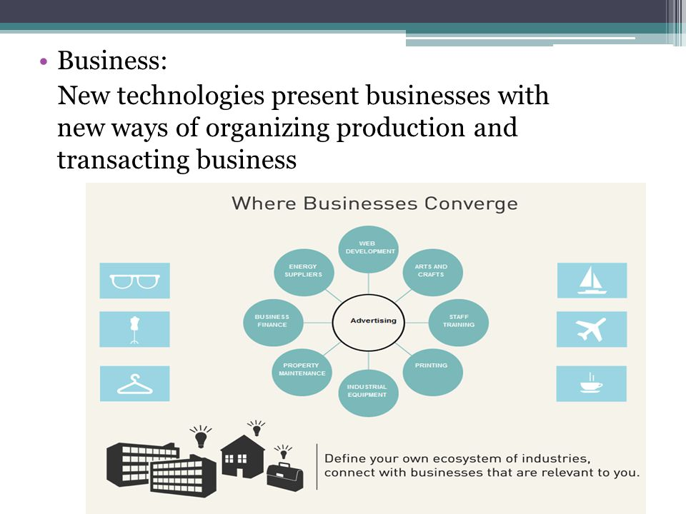Business: New technologies present businesses with new ways of organizing production and transacting business