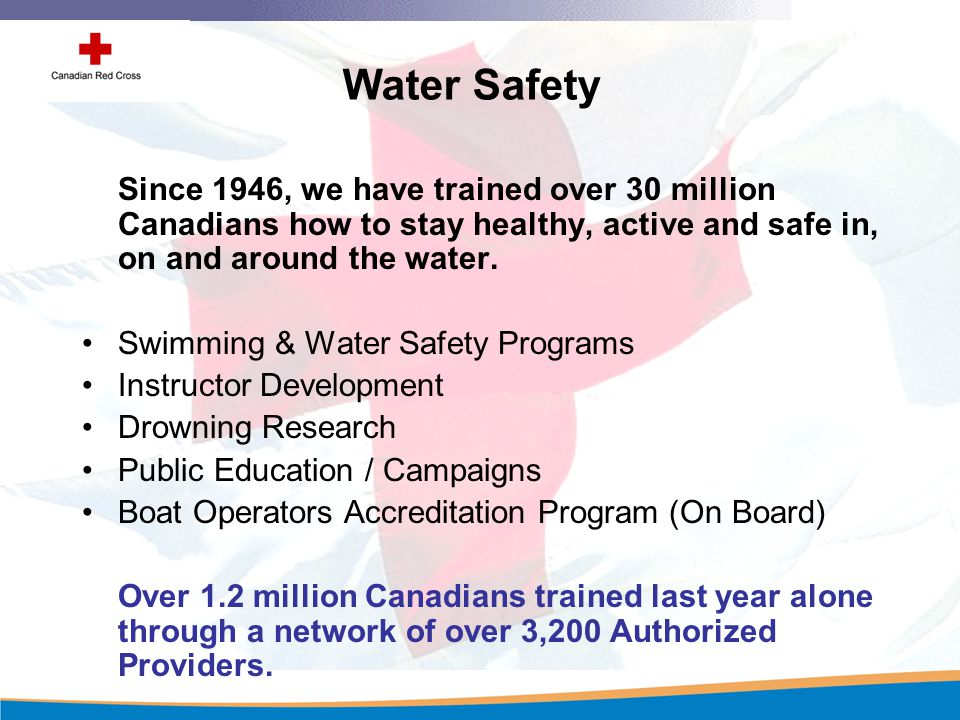 Our Programs Injury Prevention: Water Safety & First Aid RespectED: Violence & Abuse Prevention Disaster Services International & Humanitarian Issues Community Services