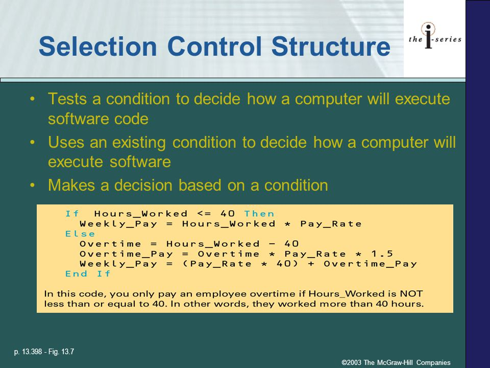 ©2003 The McGraw-Hill Companies Selection Control Structure Tests a condition to decide how a computer will execute software code Uses an existing condition to decide how a computer will execute software Makes a decision based on a condition p.
