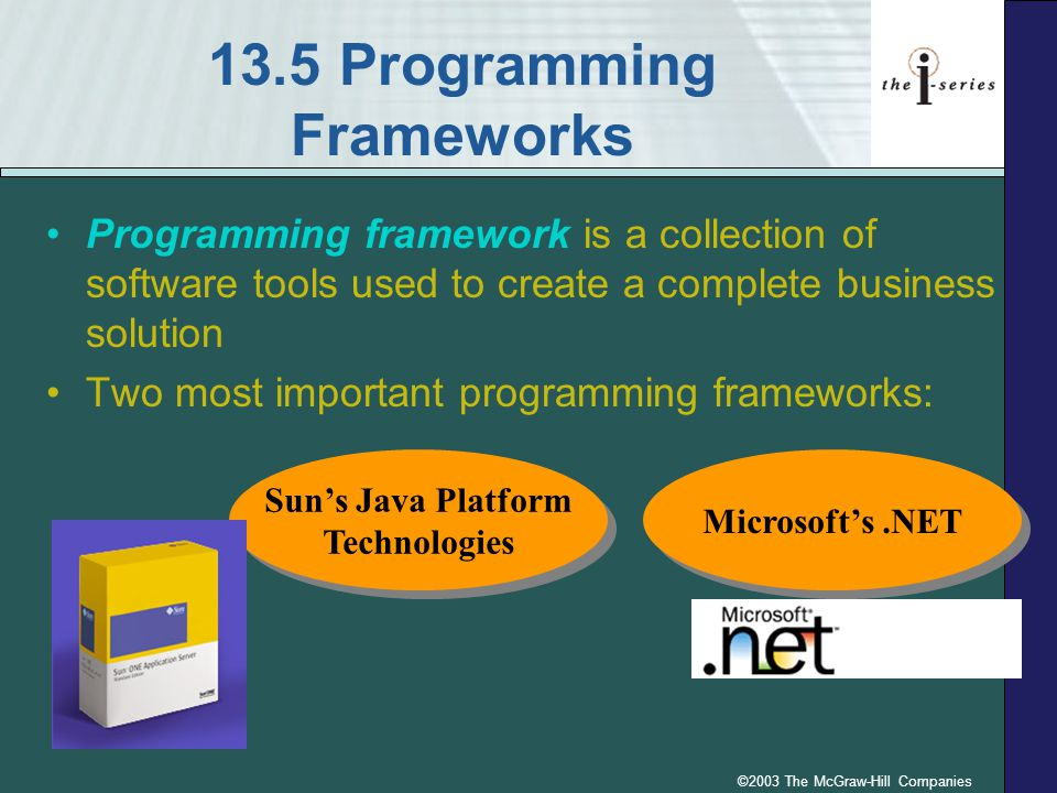©2003 The McGraw-Hill Companies 13.5 Programming Frameworks Programming framework is a collection of software tools used to create a complete business solution Two most important programming frameworks: Sun's Java Platform Technologies Sun's Java Platform Technologies Microsoft's.NET