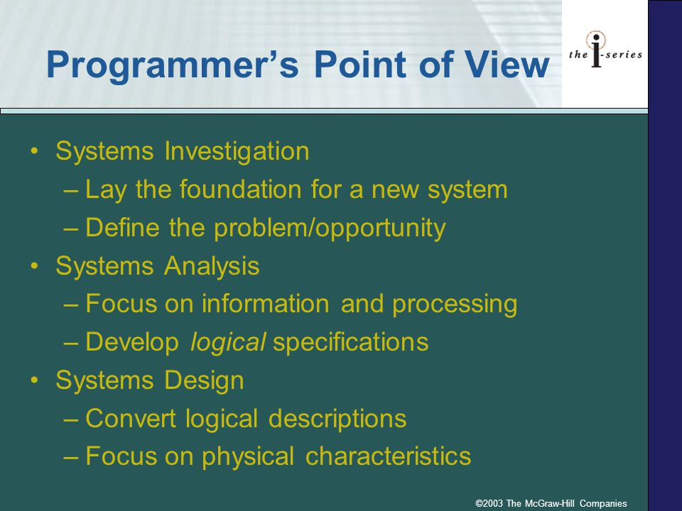©2003 The McGraw-Hill Companies Programmer's Point of View Systems Investigation –Lay the foundation for a new system –Define the problem/opportunity Systems Analysis –Focus on information and processing –Develop logical specifications Systems Design –Convert logical descriptions –Focus on physical characteristics
