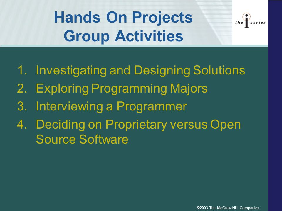 ©2003 The McGraw-Hill Companies Hands On Projects Group Activities 1.Investigating and Designing Solutions 2.Exploring Programming Majors 3.Interviewing a Programmer 4.Deciding on Proprietary versus Open Source Software