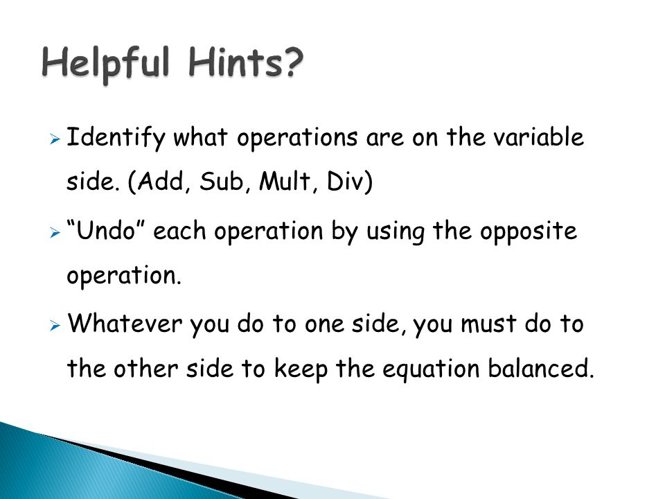  Identify what operations are on the variable side.