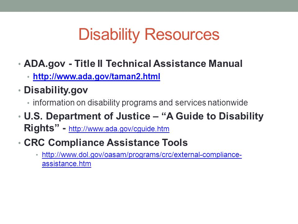 Disability Resources ADA.gov - Title II Technical Assistance Manual   Disability.gov information on disability programs and services nationwide U.S.