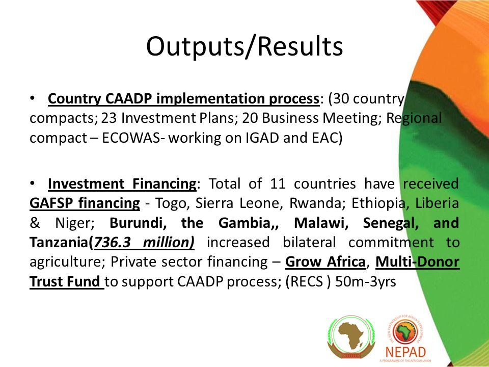 Outputs/Results Country CAADP implementation process: (30 country compacts; 23 Investment Plans; 20 Business Meeting; Regional compact – ECOWAS- working on IGAD and EAC) Investment Financing: Total of 11 countries have received GAFSP financing - Togo, Sierra Leone, Rwanda; Ethiopia, Liberia & Niger; Burundi, the Gambia,, Malawi, Senegal, and Tanzania(736.3 million) increased bilateral commitment to agriculture; Private sector financing – Grow Africa, Multi-Donor Trust Fund to support CAADP process; (RECS ) 50m-3yrs