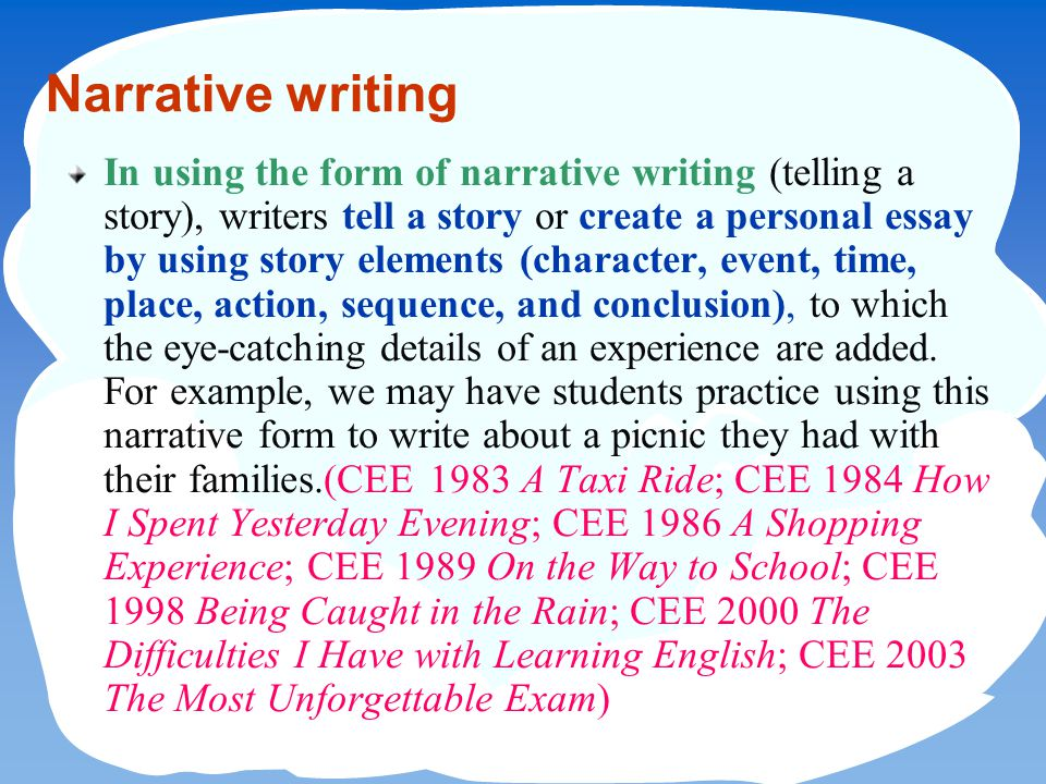 writing a narrative essay yun hsiang liu m s ed hsnu english  2 narrative