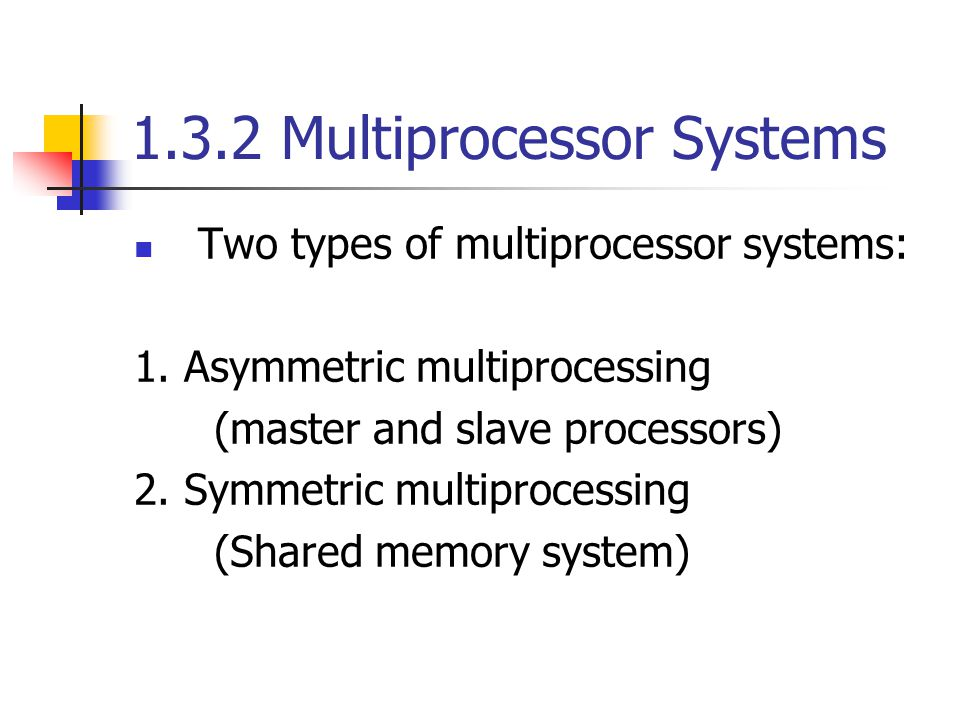 1.3.2 Multiprocessor Systems Two types of multiprocessor systems: 1.