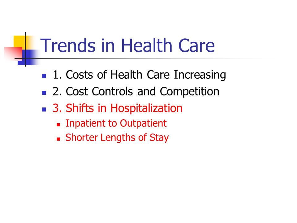 Trends in Health Care 1. Costs of Health Care Increasing 2.
