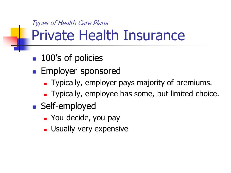 Types of Health Care Plans Private Health Insurance 100's of policies Employer sponsored Typically, employer pays majority of premiums.