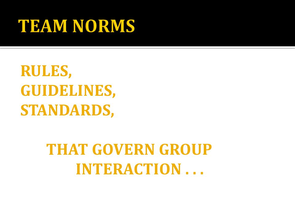 RULES, GUIDELINES, STANDARDS, THAT GOVERN GROUP INTERACTION...