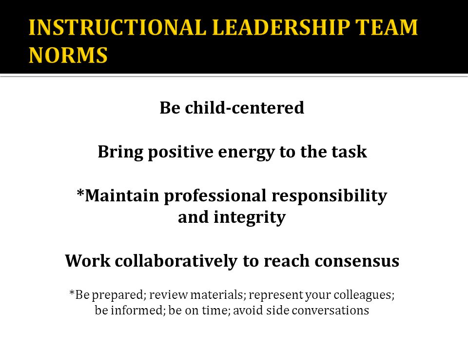 Be child-centered Bring positive energy to the task *Maintain professional responsibility and integrity Work collaboratively to reach consensus *Be prepared; review materials; represent your colleagues; be informed; be on time; avoid side conversations