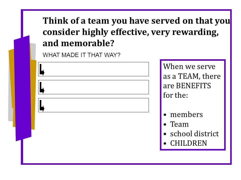 Think of a team you have served on that you consider highly effective, very rewarding, and memorable.