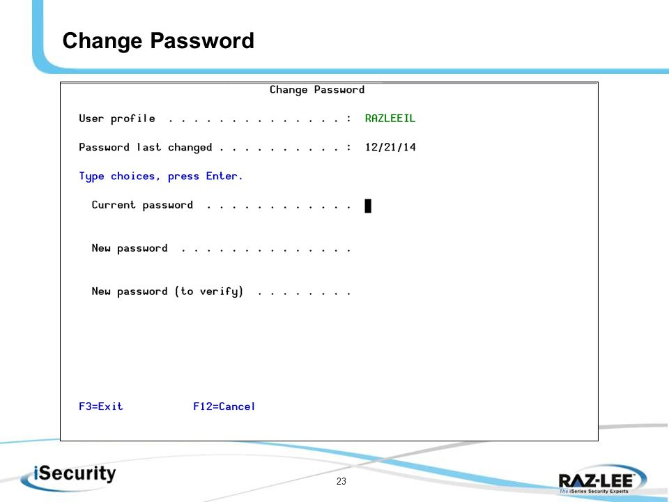 23 Change Password