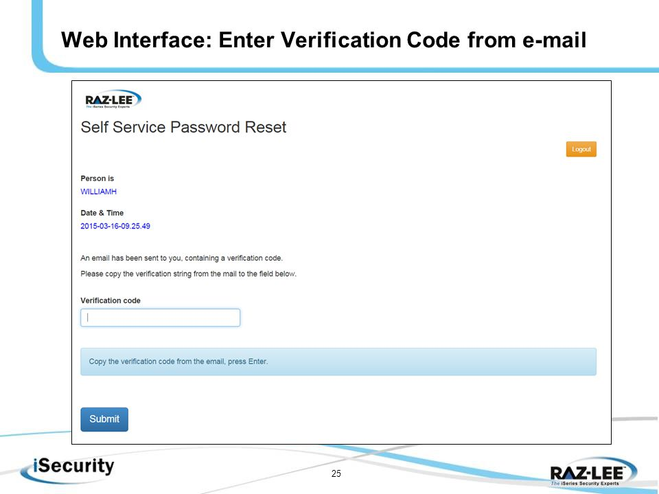 25 Web Interface: Enter Verification Code from