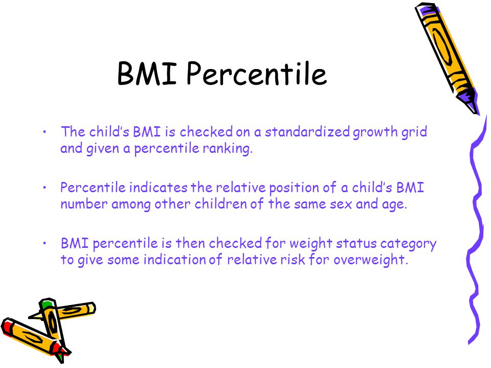 BMI Percentile The child's BMI is checked on a standardized growth grid and given a percentile ranking.