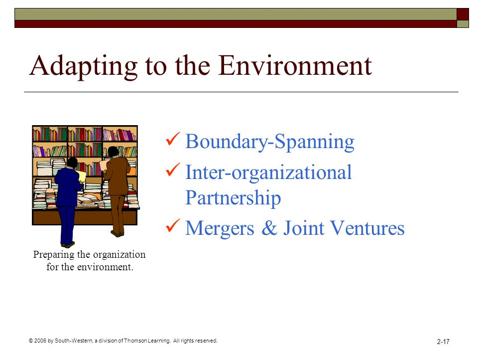 © 2006 by South-Western, a division of Thomson Learning. All rights reserved. 2-17 Adapting to the Environment Boundary-Spanning Inter-organizational