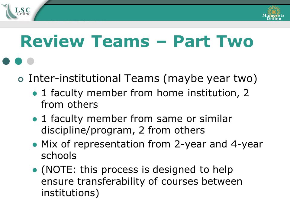 Review Teams – Part Two Inter-institutional Teams (maybe year two) 1 faculty member from home institution, 2 from others 1 faculty member from same or similar discipline/program, 2 from others Mix of representation from 2-year and 4-year schools (NOTE: this process is designed to help ensure transferability of courses between institutions)