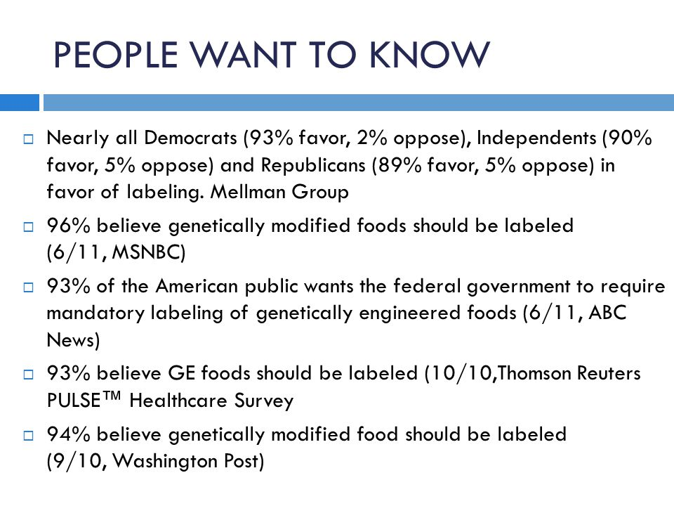 PEOPLE WANT TO KNOW  Nearly all Democrats (93% favor, 2% oppose), Independents (90% favor, 5% oppose) and Republicans (89% favor, 5% oppose) in favor of labeling.