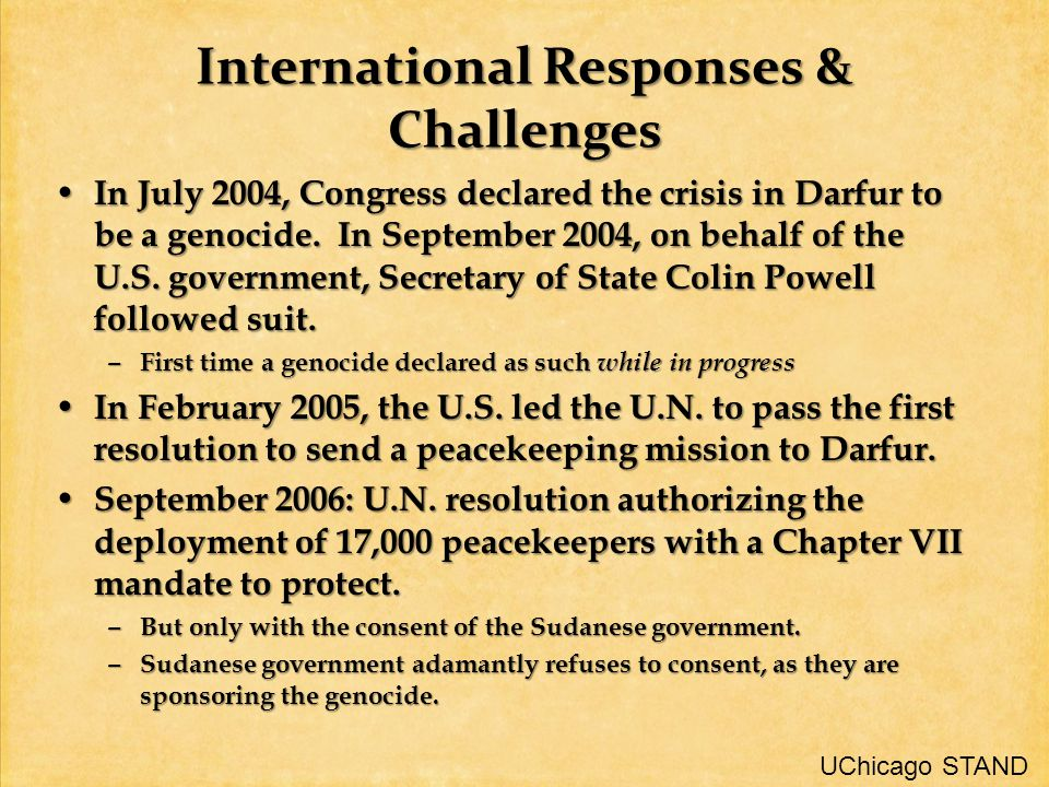 International Responses & Challenges In July 2004, Congress declared the crisis in Darfur to be a genocide.