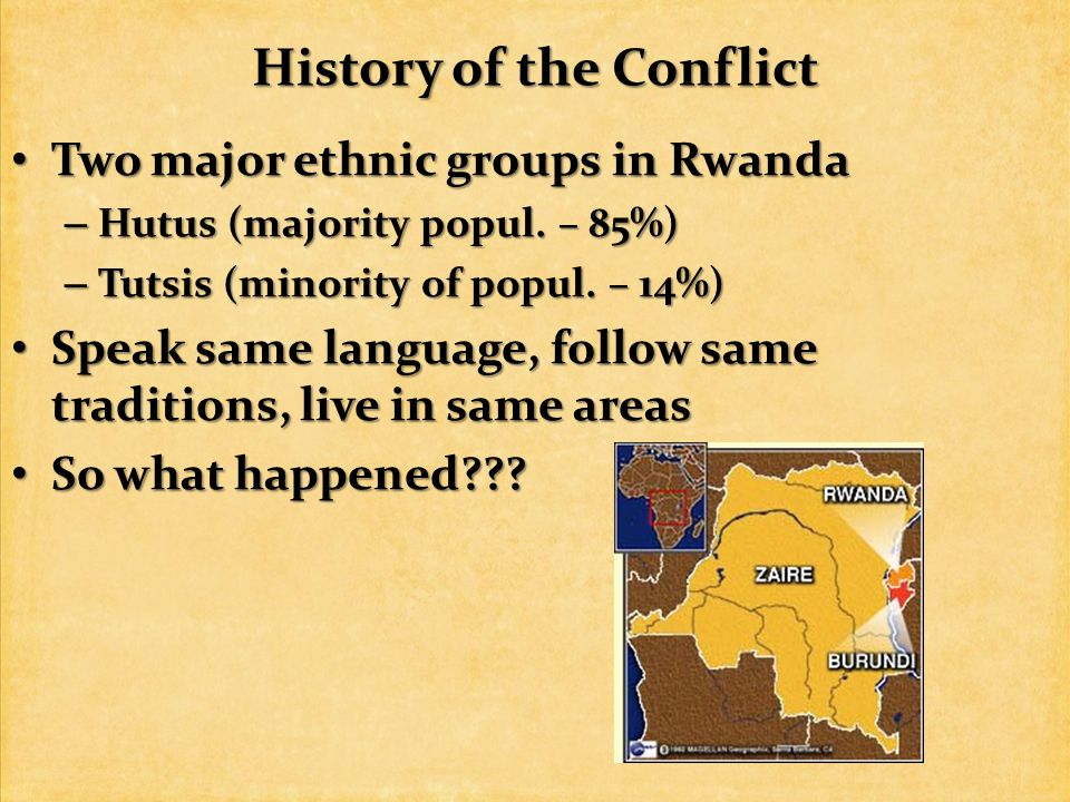 History of the Conflict Two major ethnic groups in Rwanda Two major ethnic groups in Rwanda – Hutus (majority popul.