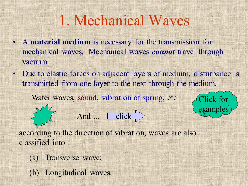 PART B TYPES OF WAVES Waves PART B TYPES OF WAVES Waves are classified into different types according to their natures :