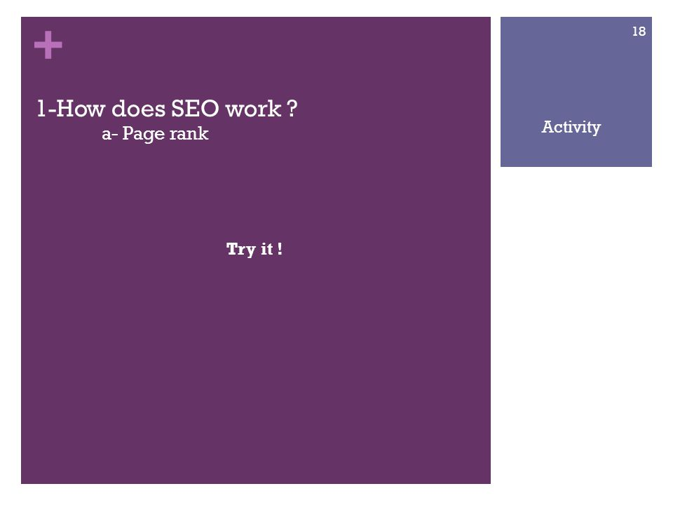 + 1-How does SEO work a- Page rank Try it ! 18 Activity