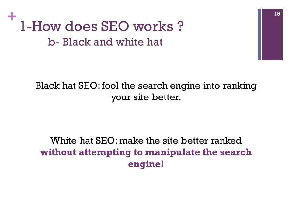+ 1-How does SEO works .