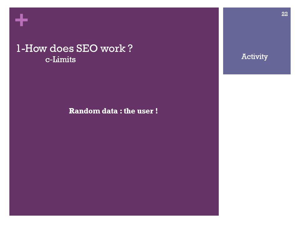 + 1-How does SEO work c-Limits Random data : the user ! 22 Activity