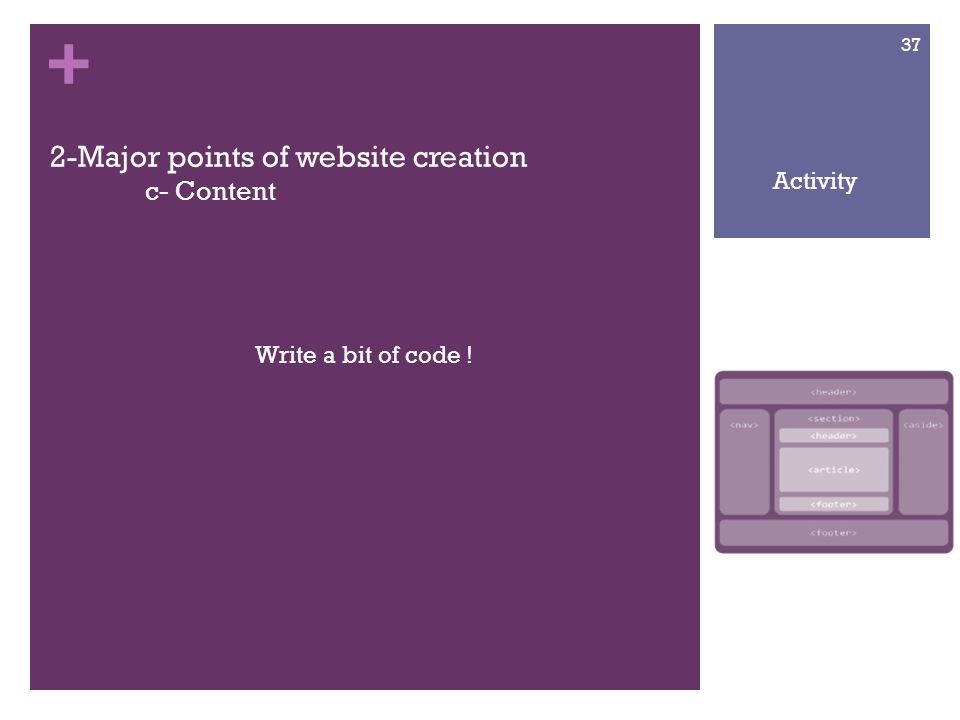 + 2-Major points of website creation c- Content Write a bit of code ! 37 Activity